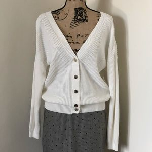 Massimo Dutti V-Neck Cotton Cardigan Sweater *M